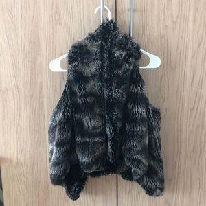 Faux fur drape vest